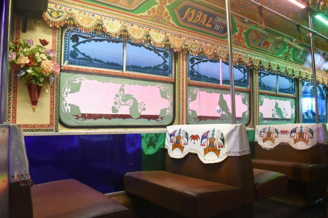With its highly decorated interior, coloured fluorescent lighting, beads and bells, the 'Karachi W11' tram is a brash and bold addition to the historic collection.